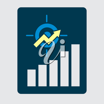 Business development strategy emblem. Investment efficiency concept. Upward chart with target symbol financial success abstract vector illustration.