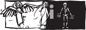 Royalty Free Clipart Image of a Person Standing Between an Angel and Skeleton