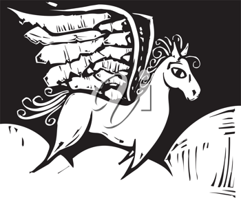 Royalty Free Clipart Image of a Grecian Pegasus