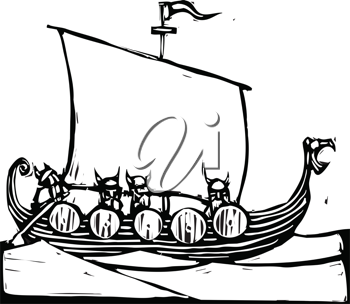 Royalty Free Clipart Image of a Viking Ship