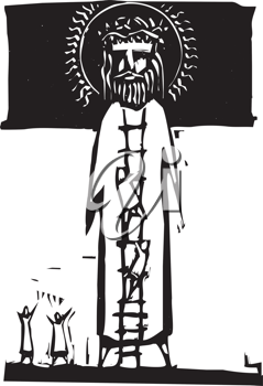 Royalty Free Clipart Image of People Climbing Jesus