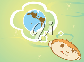 Royalty Free Clipart Image of a Boy Thinking of Earth