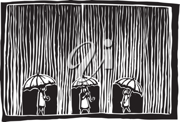 Royalty Free Clipart Image of Three People Walking in the Rain