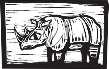 Royalty Free Clipart Image of a Rhino