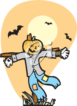 Royalty Free Clipart Image of a Scarecrow With Bats