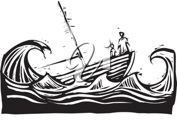 Royalty Free Clipart Image of People on a Boat
