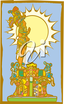 Royalty Free Clipart Image of a Mayan Lord Standing on the Back of Slaves