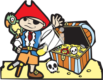 Royalty Free Clipart Image of a Pirate by Treasure