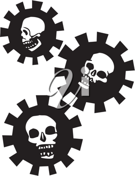 Royalty Free Clipart Image of Skulls in Mechanical Gears