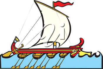 Royalty Free Clipart Image of a Greek Sailing Warship