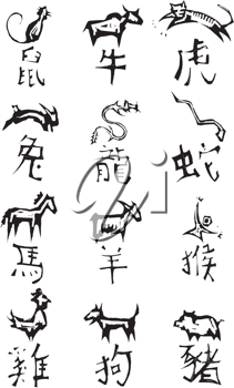 Royalty Free Clipart Image of Chinese Zodiac Signs