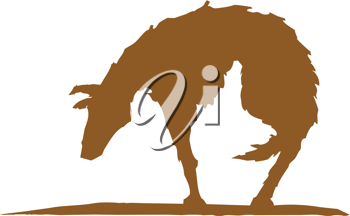 Royalty Free Clipart Image of a Silhouette of a Dog