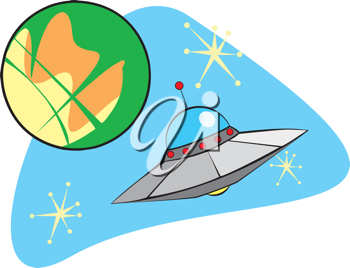 Royalty Free Clipart Image of a Flying Saucer Near Mars