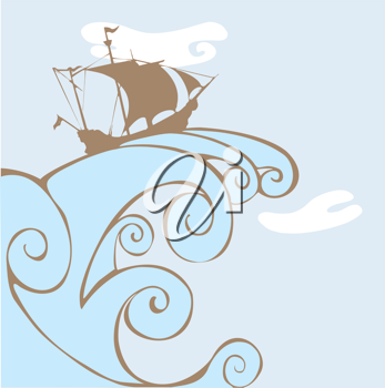 Royalty Free Clipart Image of a Pirate Ship