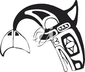 Royalty Free Clipart Image of Killer Whale Tribal Art