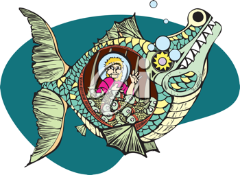 Royalty Free Clipart Image of Jonah in the Belly of a Whale