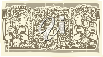 Royalty Free Clipart Image of a Mayan Triptych Image With Priests