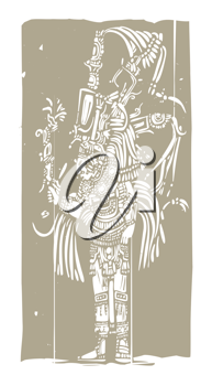 Royalty Free Clipart Image of a Mayan Lord
