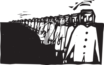 Royalty Free Clipart Image of a Long Row of People