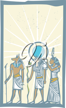 Anubis and Horus with Rays of Light Egyptian hieroglyph in woodcut style.