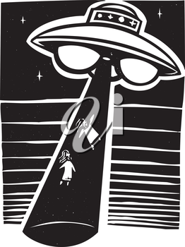 Royalty Free Clipart Image of an Alien Abduction
