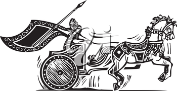 Woodcut style image of a Norse viking Valkyrie riding a chariot.