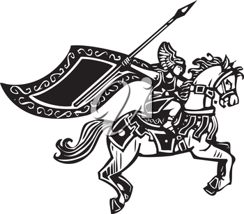Woodcut style image of a Norse viking Valkyrie riding a horse.