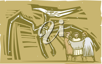 Woodcut style image of Paleontologists studying a fossil of a pterodactyl dinosaur