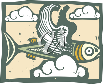 Woodcut style image of a flying fish with feathered wings.