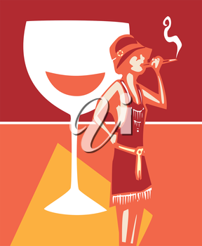 Woodcut syle image of a woman in a flapper dress smoking and a wine glass