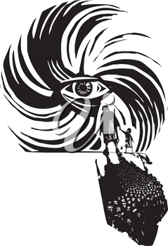 Woodcut style image of human eye in a hurricane storm with refugees