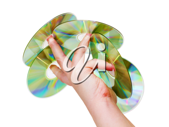Royalty Free Photo of a Person Holding Compact Discs