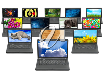 many laptops with different pictures on the screen isolated on white background