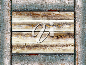 wooden background framed by old painted boards in grunge style