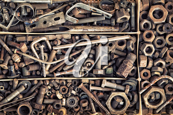 Set of old fastening elements in vintage style as a background