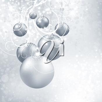 Royalty Free Clipart Image of a Silvery Christmas Balls Background