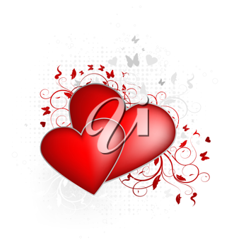 Royalty Free Clipart Image of a Valentines Day Hearts and Flowers
