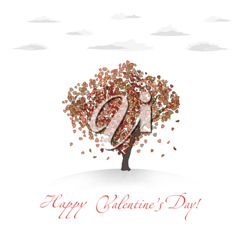 Valentines Card With Love Tree And Clouds