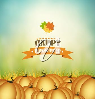Thanksgiving Day Background With Pumpkins And Title Inscription
