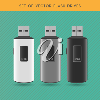 Set Of Vector White, Gray And Black Flash Drives On A Gray Background