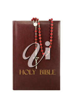 Royalty Free Photo of a Rosary on a Bible