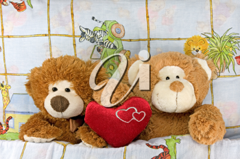 Royalty Free Photo of Teddy Bears in Bed