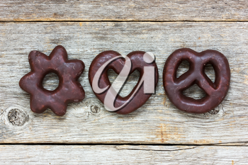 Royalty Free Photo of Cookies on Wood