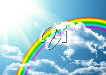 Royalty Free Clipart Image of a Rainbow in a Clear Blue Sky