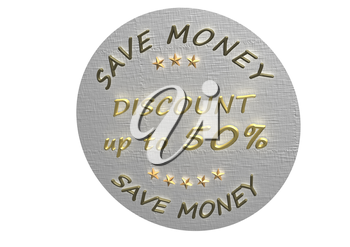 High Quality Discount 50 percent product badge isolated on white.
