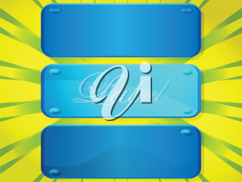Royalty Free Clipart Image of Blue Labels