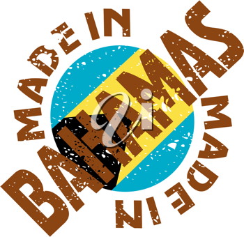Royalty Free Clipart Image of a Label of Made in Bahamas