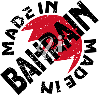 Royalty Free Clipart Image of a Label of Made in Bahrain