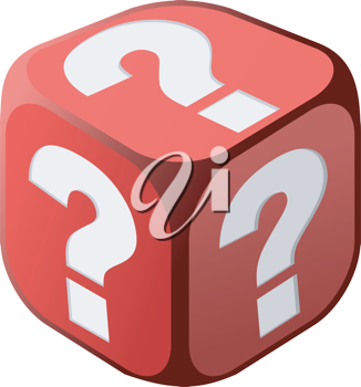 Royalty Free Clipart Image of a Dice Covered in Question Marks