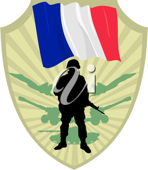 Royalty Free Clipart Image of a Crest of a Flag of France and a Soldier